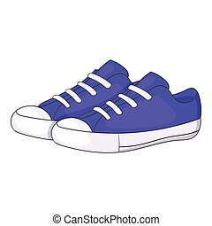 Womens purple sneakers icon, cartoon style - Womens purple...