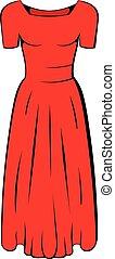 Womens red dress icon cartoon