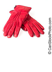 Women's Red Leather Gloves Isolated on White Background