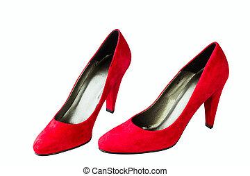 women's red velvet shoes