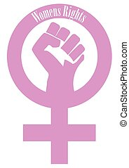 A pink womens rights fist and female symbol on a white background