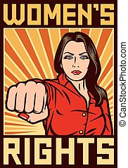 womens rights poster - women`s rights poster - pop art woman...