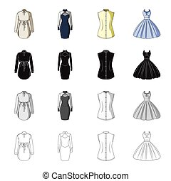 Women's robe, evening dress, vest clothing, ball gown. Women's clothing set collection icons in cartoon black monochrome outline style vector symbol stock illustration web.
