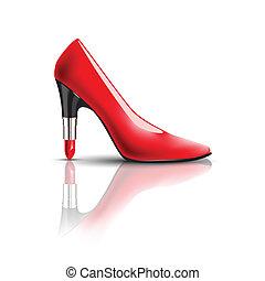 womens, scarpe, tallone, rossetto
