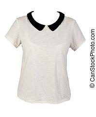 Women's shirt with black collar