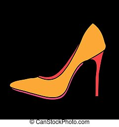 Women's shoe graphic on black