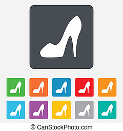 Women's shoe sign icon. High heels shoe. - Women sign....