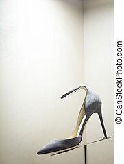Women's shoes in store window display
