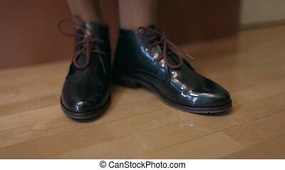 Women's shoes on a demonstration - Women's legs in shoes...