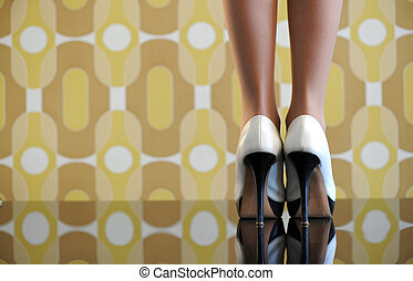 Women's shoes on vintage background