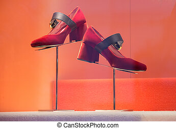 Women's shoes suede red with a black leather strap