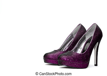 Womens sparkly high heels on white background
