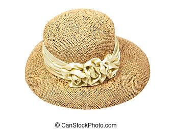 Women's straw hat with a flower, isolated