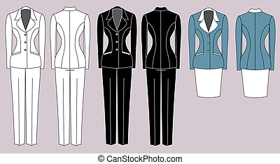 Women's suits isolated. Vector woman clothes for working