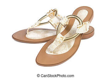 Women's summer sandals. Isolated on white background.