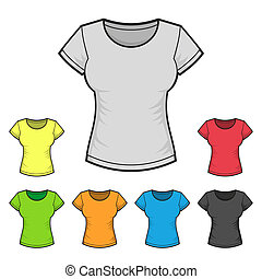 Women's T-shirt Design Template Color Set. Vector...