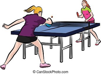 women's table tennis - woman play table tennis - women in...