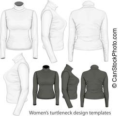 Women's turtleneck design templates - Vector. Women's...