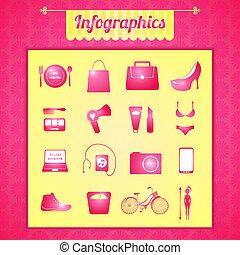 Women's vector infographic set