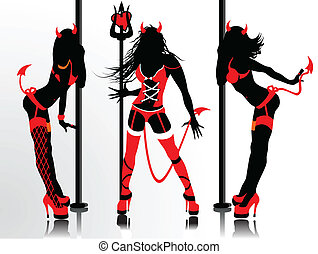 Women's vector silhouettes in devil's erotic suits