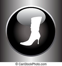 Women's winter boot flat icon on black button