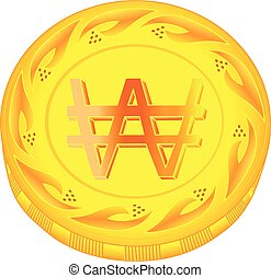 Won coin - gold won, metal won, small change, pocket money,...