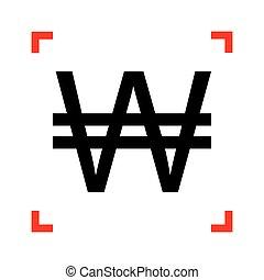 Won sign. Black icon in focus corners on white background. Isola