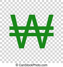 Won sign. Dark green icon on transparent background.