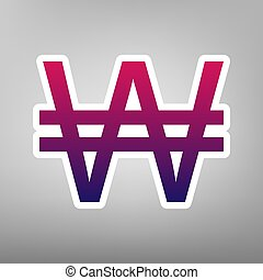 Won sign. Vector. Purple gradient icon on white paper at gray background.