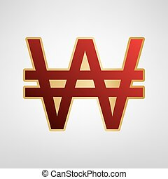 Won sign. Vector. Red icon on gold sticker at light gray background.