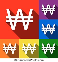 Won sign. Vector. Set of icons with flat shadows at red, orange, yellow, green, blue and violet background.