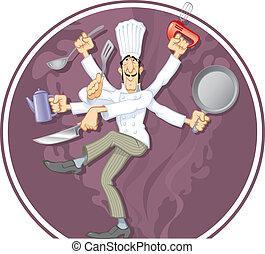 Wonder Cook - The multihand dancing Cook, vector...