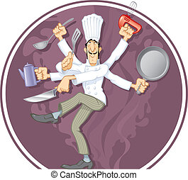 The multihand dancing Cook, vector illustration