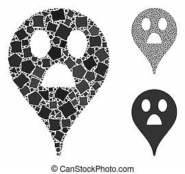 Wonder smiley map marker Mosaic Icon of Bumpy Parts