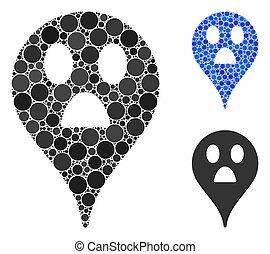 Wonder smiley map marker Mosaic Icon of Circle Dots