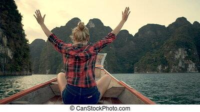 Wonder travel woman exploring wild nature of Khao Sok...