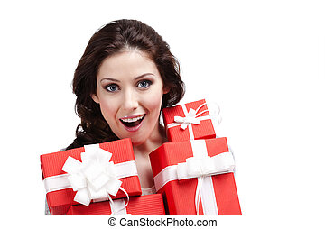 Wondered woman hands a lot of present boxes