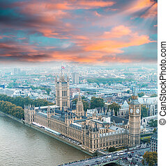 Wonderful aerial view of Big Ben and Houses of Parliament in Wes