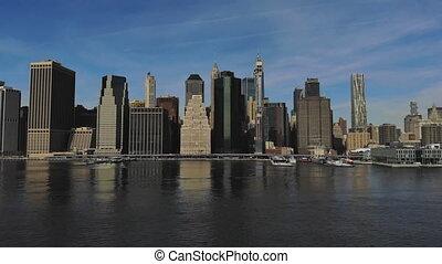 New York City Manhattan midtown skyline panorama with historical landmark skyscrapers over Hudson river