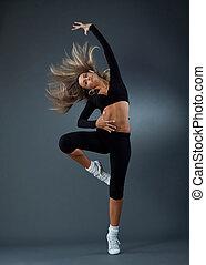 wonderful ballerina is dancing gracefully