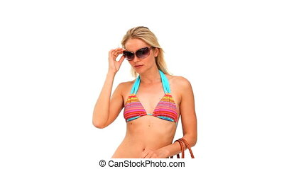 Wonderful blonde woman with sunglas