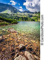 Wonderful blue lake in the mountains, Poland, Europe