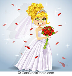 Wonderful shining bride with bouquet