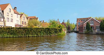 Wonderful channels of Brugge, Belgium. GPS information is in...