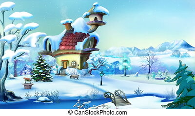 Wonderful Christmas Day. Handmade animation in classic...