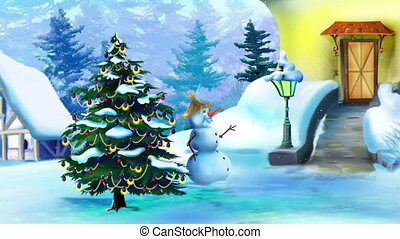 Wonderful Christmas Day with Snowman and Christmas Tree....