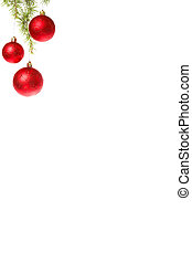 Christmas decoration with red ornamentals and green fir tree on white surface