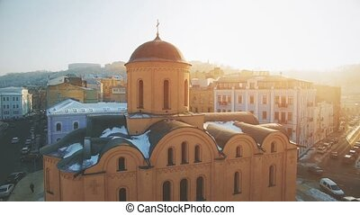wonderful church dome surrounded by neat streets aerial - ...