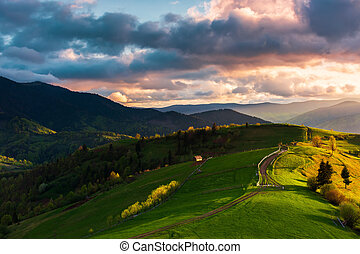 wonderful countryside in mountains at sunset