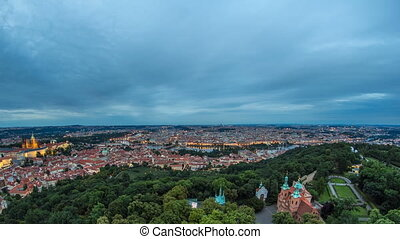 Wonderful day to night timelapse View To The City Of Prague From Petrin Observation Tower In Czech Republic